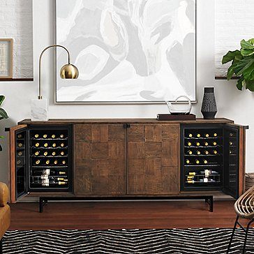 Loire American Oak Wine Credenza with Integrated Wine Coolers