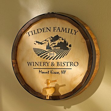Personalized Oak Wine Barrel Top Sign with Chateau