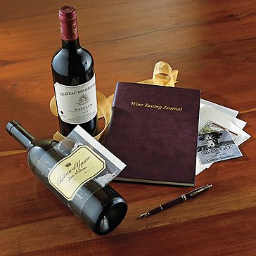 Leather Wine Tasting Journal and Label Savers
