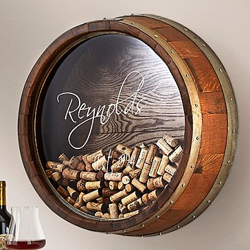 Personalized Reclaimed Wine Barrel Head Cork Collector's Display (Name and Year)
