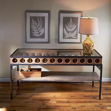 Wine Bottle Display Console Table