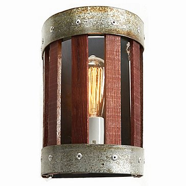 Wine Barrel Stave Wall Sconce (Small)
