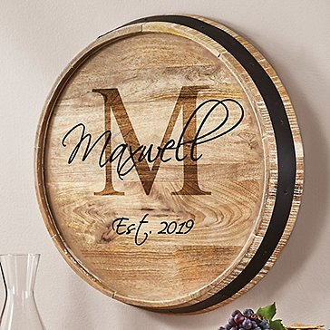 Personalized Barrel Head Sign with Script Name, Single Initial and Year