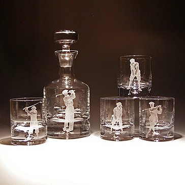 Etched Golf Whiskey Decanter and Glasses Set