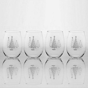 Etched Christmas Tree Stemless Tumblers (Set of 4)