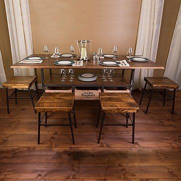 Vino Vintage Farm Style Dining Table with 4 Cellar Stools