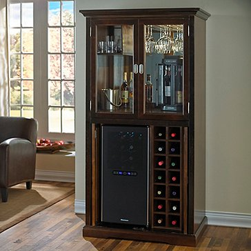 Firenze Wine And Spirits Armoire Bar With 32 Bottle Touchscreen Refrigerator