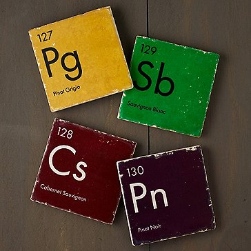 Periodic Table of Wine Marble Coasters (Set of 4)