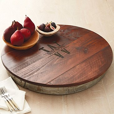 Personalized Raised Wine Barrel Lazy Susan with Name & Single Initial