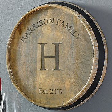 Personalized Family Name Quarter Barrel Head Sign