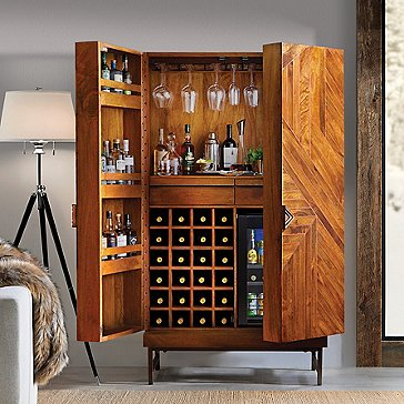 Cheverny Metal Inlay Bar Cabinet with Wine Refrigerator