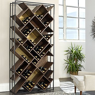 Laiton Brass Wood And Iron Wine Rack