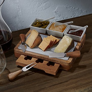 Marble and Wood Cheese Board with Three Ceramic Bowls
