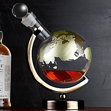 Gold Etched Globe Whiskey Decanter with Gunmetal Finish Stand