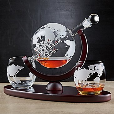 Etched Globe with Ship Whiskey Decanter and Glasses Set