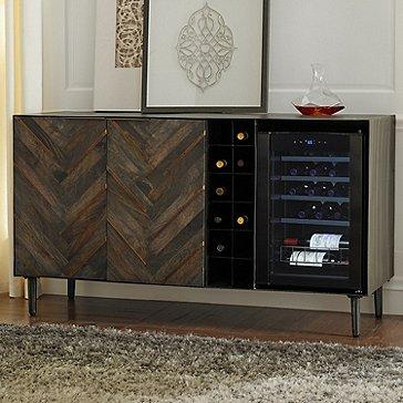 Groovy Rioja Herringbone Credenza With Wine Refrigerator Beutiful Home Inspiration Aditmahrainfo