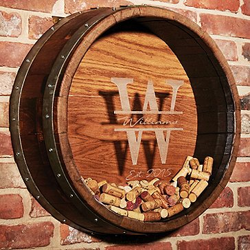 Personalized Reclaimed Wine Barrel Head Cork Collectors Display (Initial, Name, and Year Script)