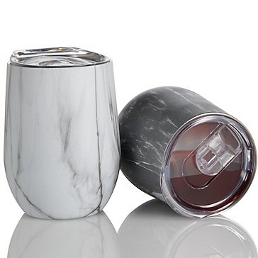 Wine Enthusiast Insulated Stainless Steel Marble Tumblers (Set of 2)