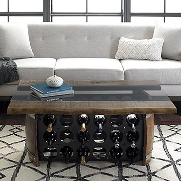 Loire Wine Barrel Coffee Table with Glass and Wood Top