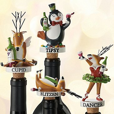 Blitzen & Friends Wine Bottle Stoppers Gift Set (4-Piece Set)