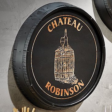 Personalized Quarter Barrel Head Sign With Black Finish Chateau Design