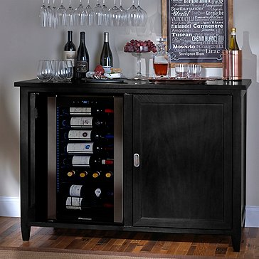 Firenze Mezzo Wine and Sprits Credenza (Nero) with Wine Refrigerator