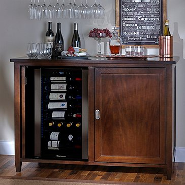 Firenze Mezzo Wine and Spirits Credenza (Espresso) with Wine Refrigerator