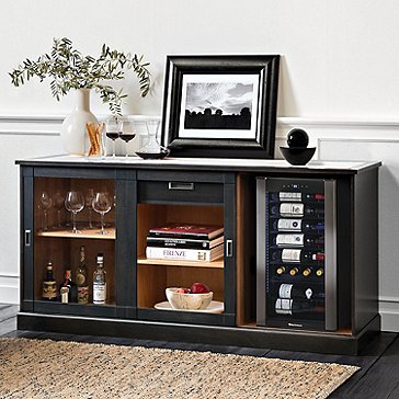 Umbria Italian-Handcrafted Wine Storage Credenza with Wine Cooler