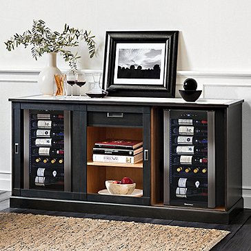 Umbria Italian-Handcrafted Wine Storage Credenza with Two Wine Coolers