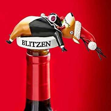 Blitzen On His Back Wine Bottle Stopper