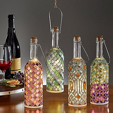 Wine Bottle Mosaic Lanterns Set