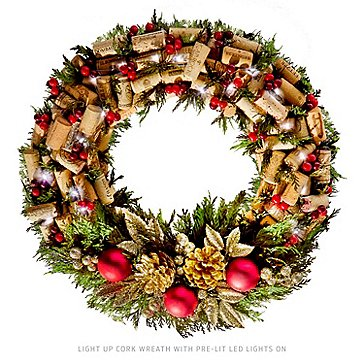 17-Inch Pre-Lit LED Cork Wreath