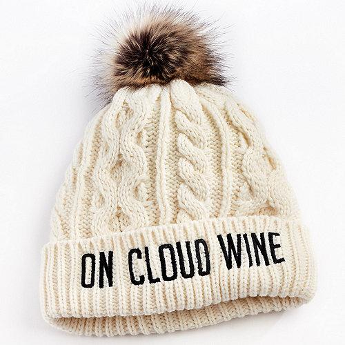 """On Cloud Wine"" Faux Fur Pom Pom Hat"