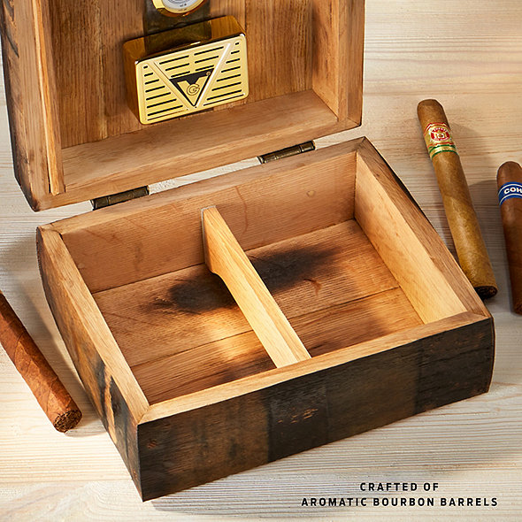 Authentic Bourbon Barrel Cigar Humidor with Personalized Etching