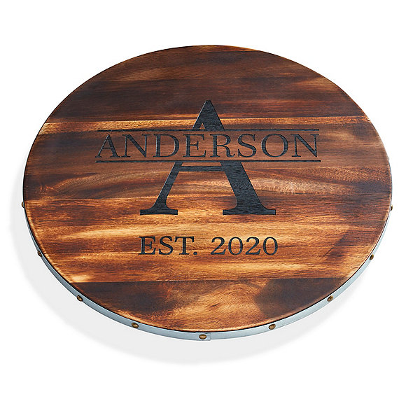 Personalized Wine Barrel Lazy Susan With Name, Single Initial & Year