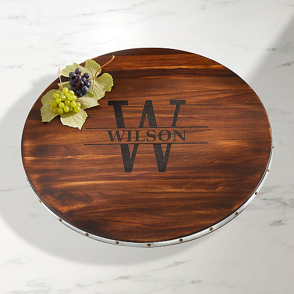Personalized Wine Barrel Lazy Susan Name & Single Initial