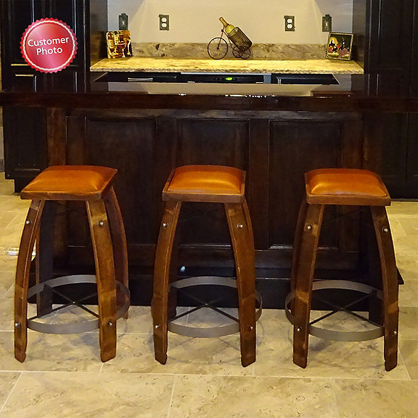 Fabulous Vintage Oak Wine Barrel Bar Stool With Leather Seat Pdpeps Interior Chair Design Pdpepsorg