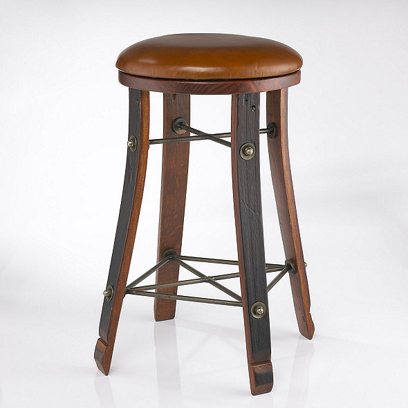 Amazing Vintage Oak Wine Barrel Round Bar Stool With Leather Seat Machost Co Dining Chair Design Ideas Machostcouk
