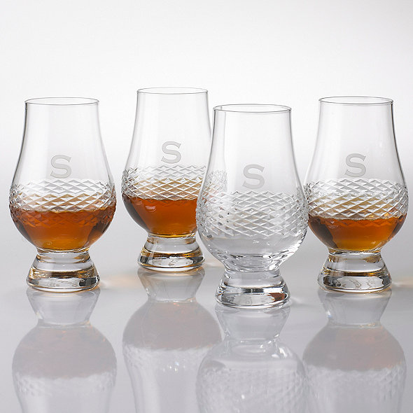 Personalized Glencairn Whiskey Glasses W/Diamond Band Set 4
