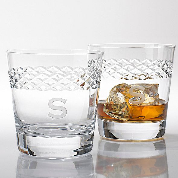 Personal Double Old Fashioned Glasses W/Diamond Band Set 4