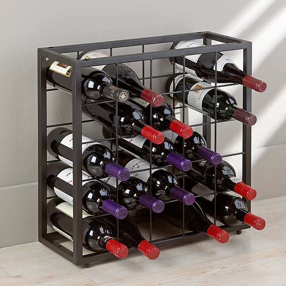 Black Steel 25 Bottle Stackable Grid