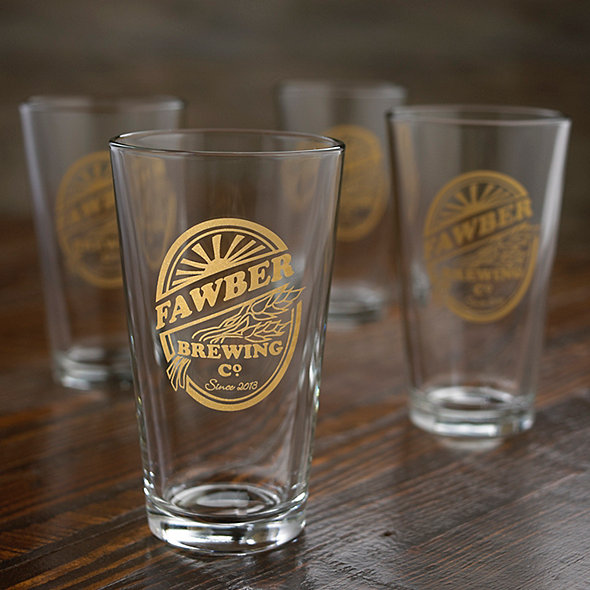 Personalized Brewing Co Beer Glasses Set Of 4