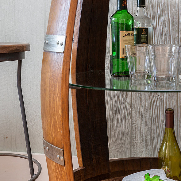 Vintage Wine Barrel Bar Cart
