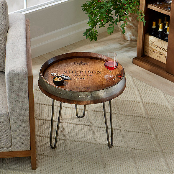 Wine Barrel Head End Table (Walnut Stain)