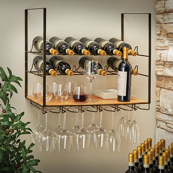 12 Bottle Wall-Mounted Wine Rack and Stemware Holder