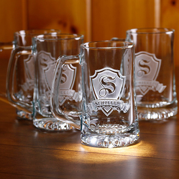 Personalized Shield Beer Mugs (Set of 4)