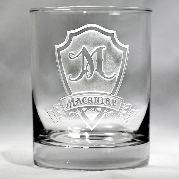 Personalized Shield Whiskey Glasses (Set of 4)