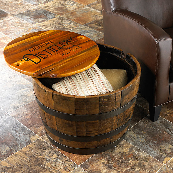 Personalized Whiskey Barrel Table