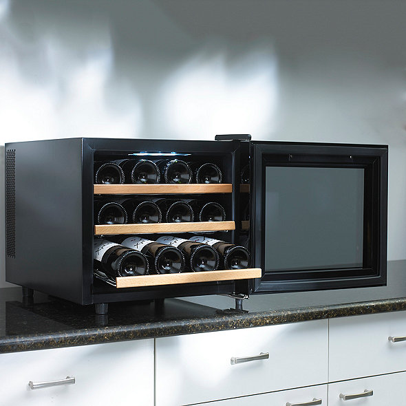 Wine Enthusiast Silent 12 Bottle Touchscreen Wine Refrigerator (Wood Front Shelves)