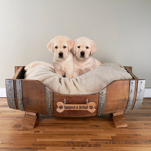 Personalized Wine Barrel Pet Bed